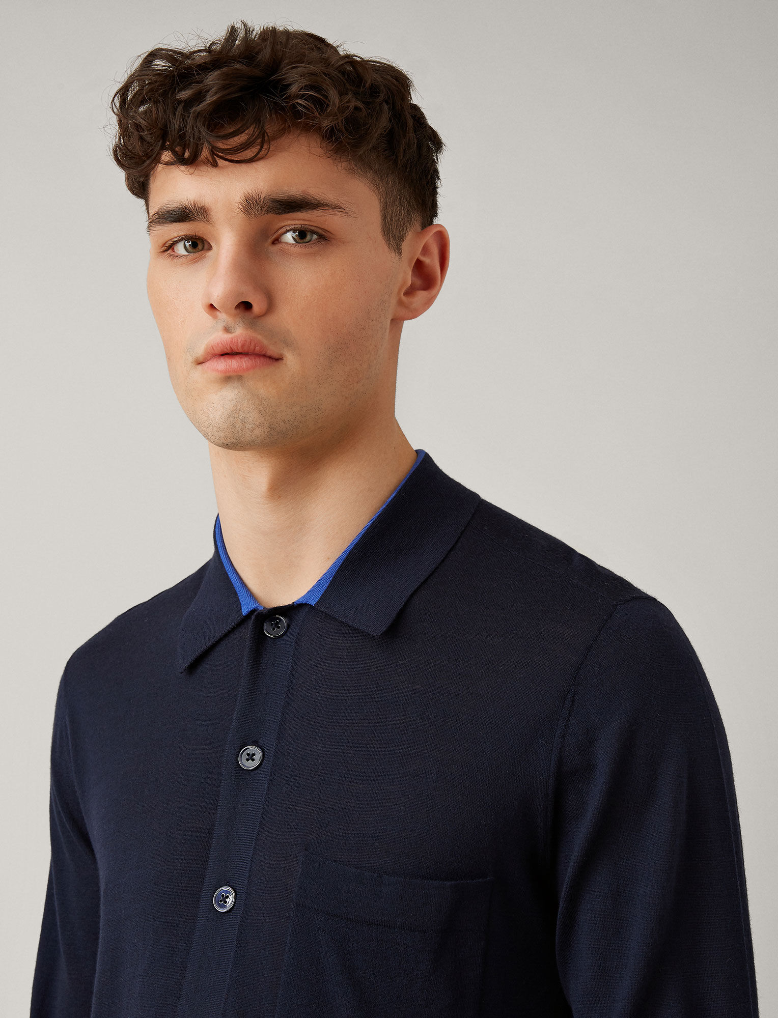 Joseph, Light Merinos Knit Shirt, in NAVY