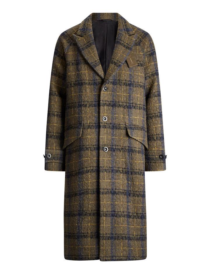 Joseph, Albert Textured Macro Check Coat, in MILITARY