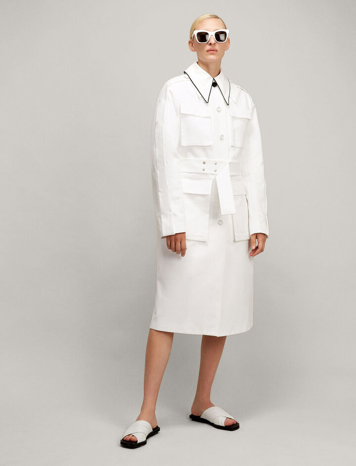 Joseph, Sculptured Cotton Raven Coat, in WHITE