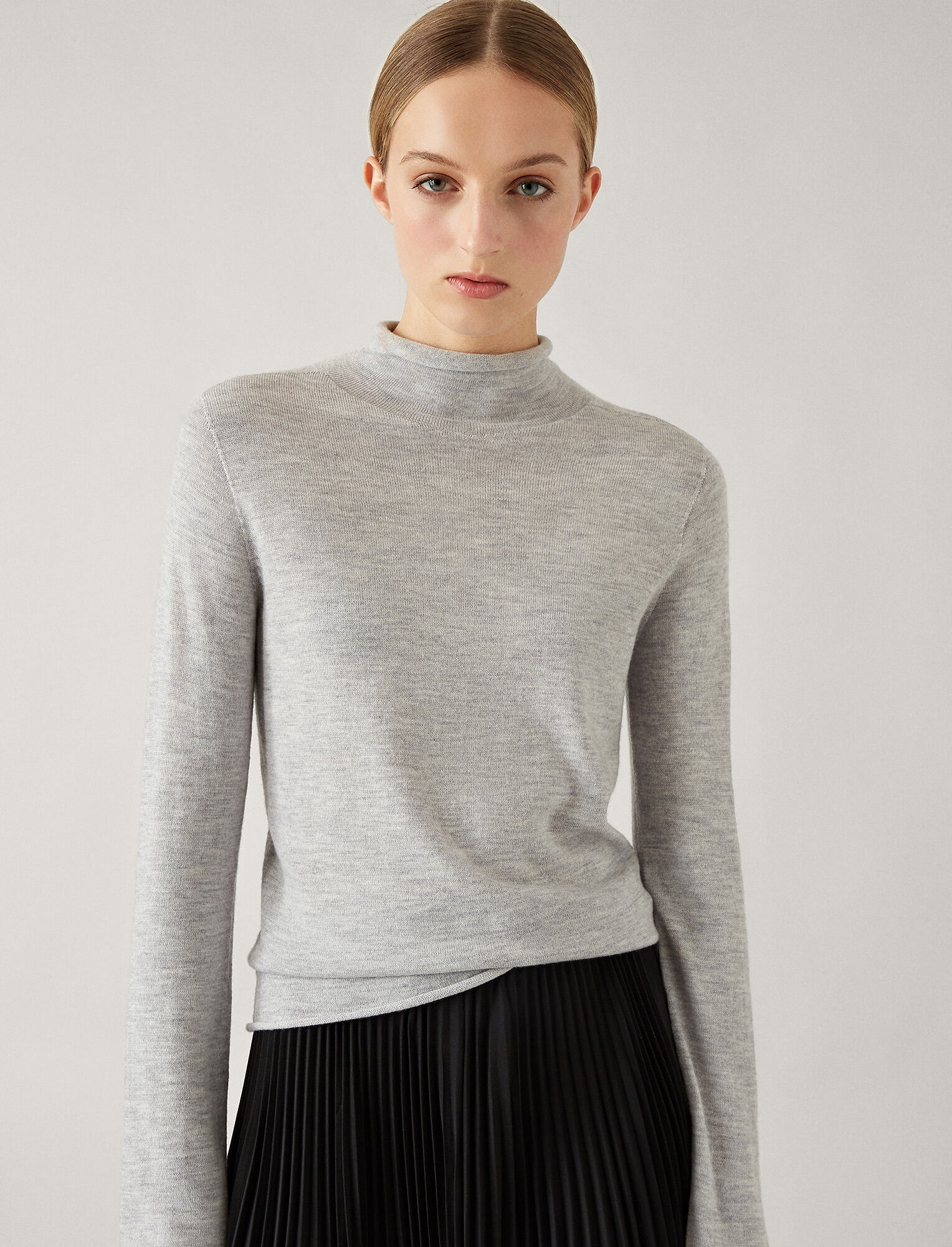 Joseph, High Neck Seamless Knit, in GREY CHINE