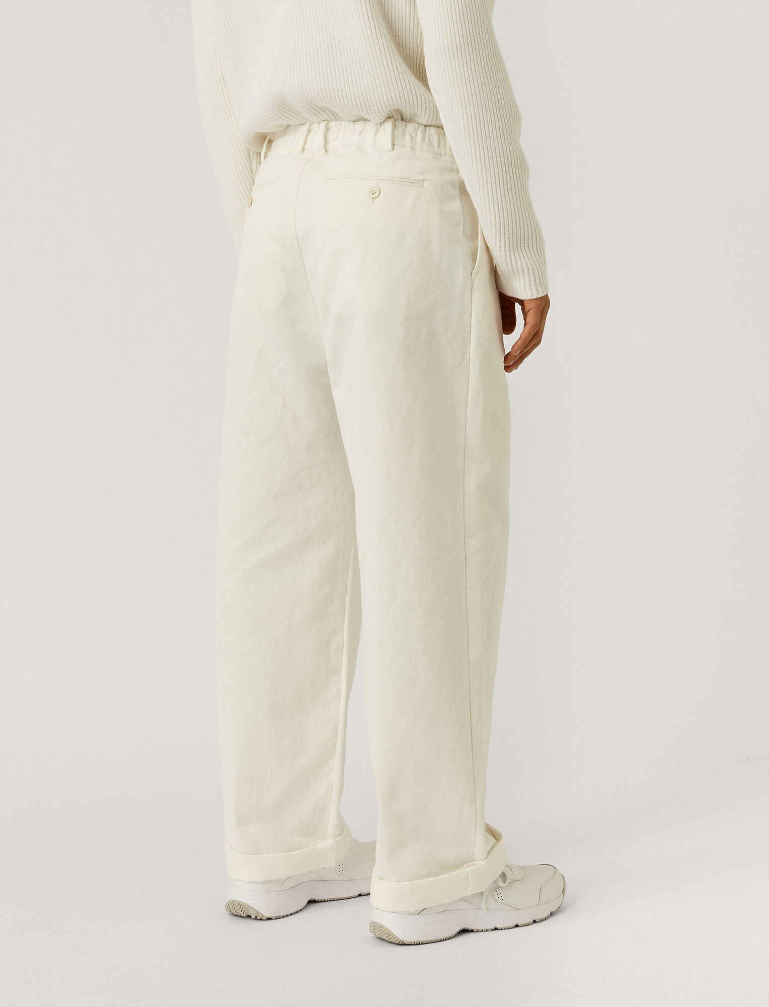 Joseph, Cotton Linen Gabardine Wave Trousers, in WHITE