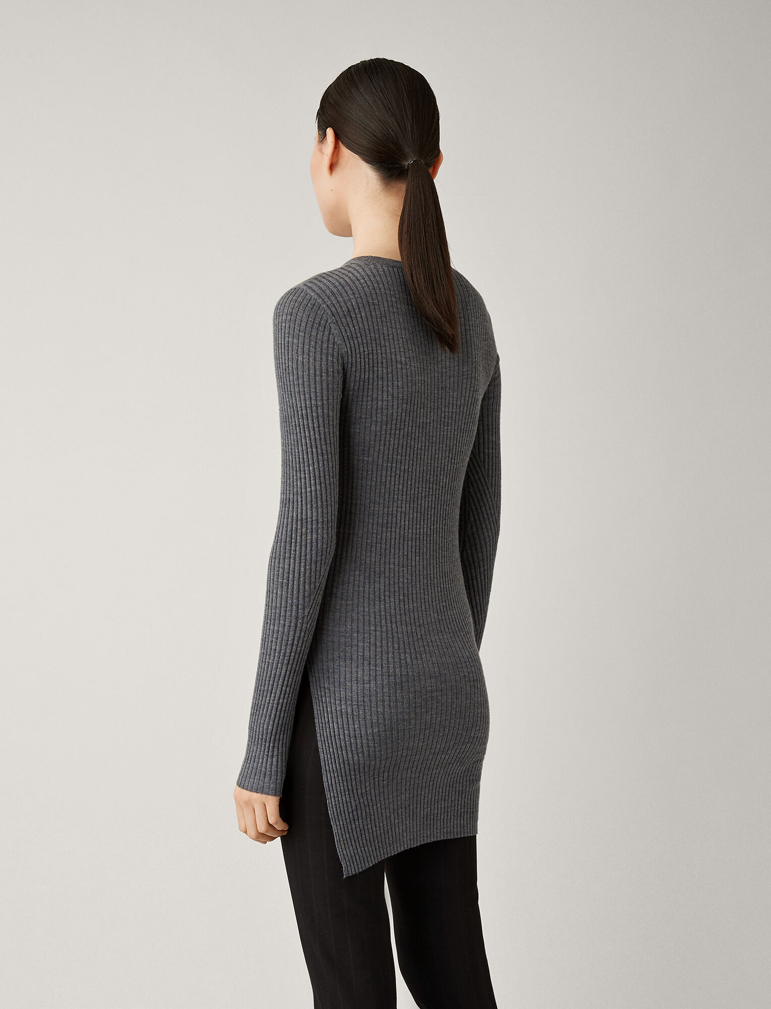Joseph, Tunic Light Merinos Rib Knit, in CHARCOAL