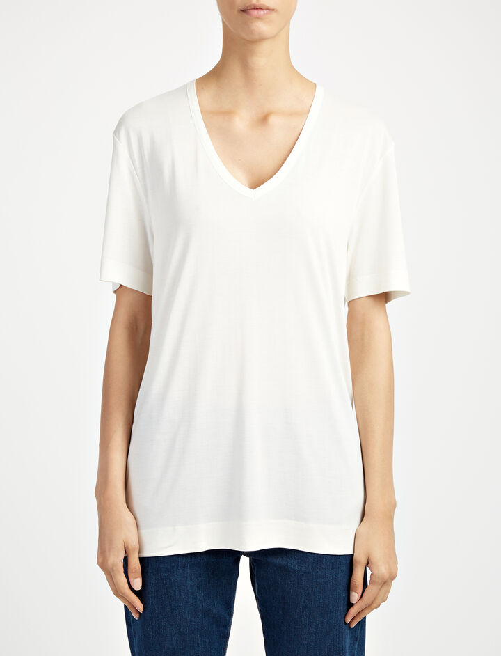 Joseph, Silk Jersey V Neck Top, in WHITE