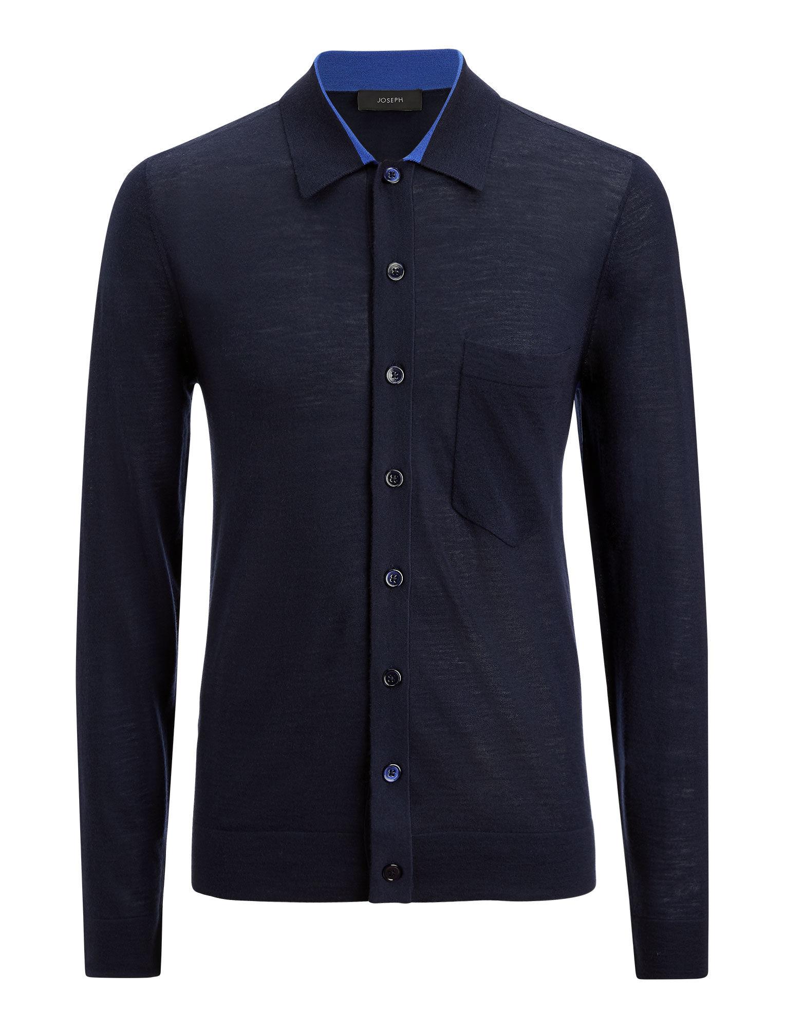 Joseph, Light Merinos Knit Shirt, in NAVY