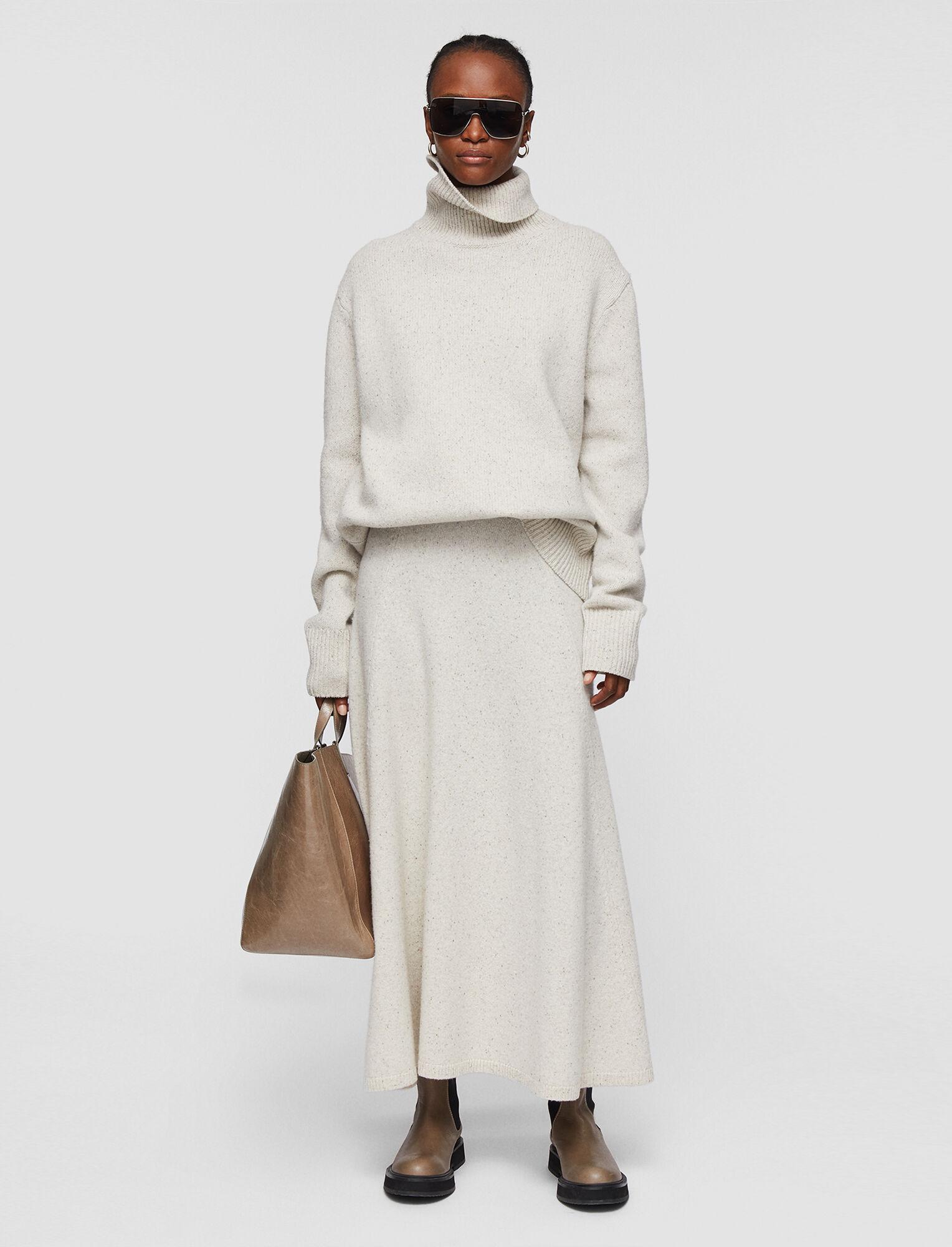 Joseph, Tweed Knit Skirt, in SANDSHELL