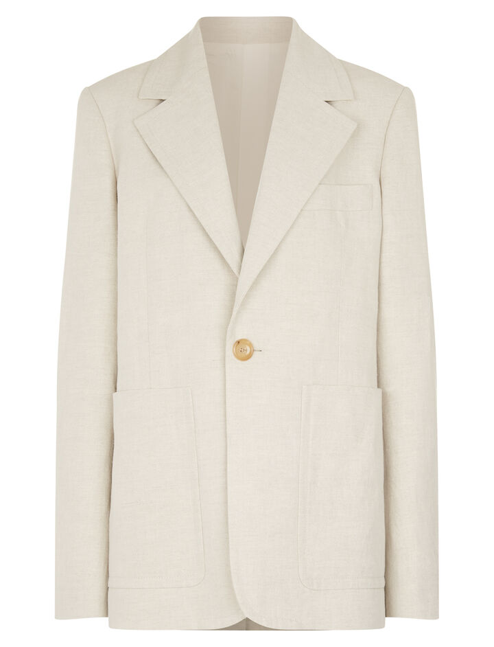 Joseph, Annab Cotton Linen Slub Jacket, in NATURAL