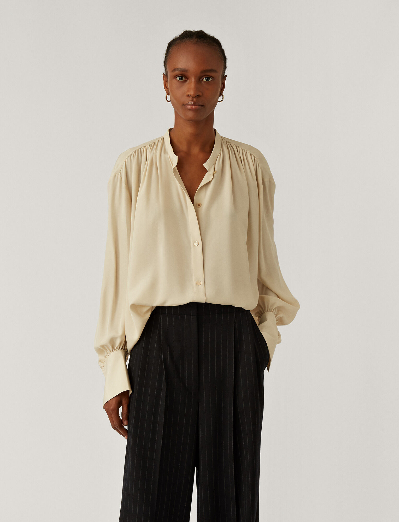 Joseph, Blanca Light Silk Blouse, in Marble