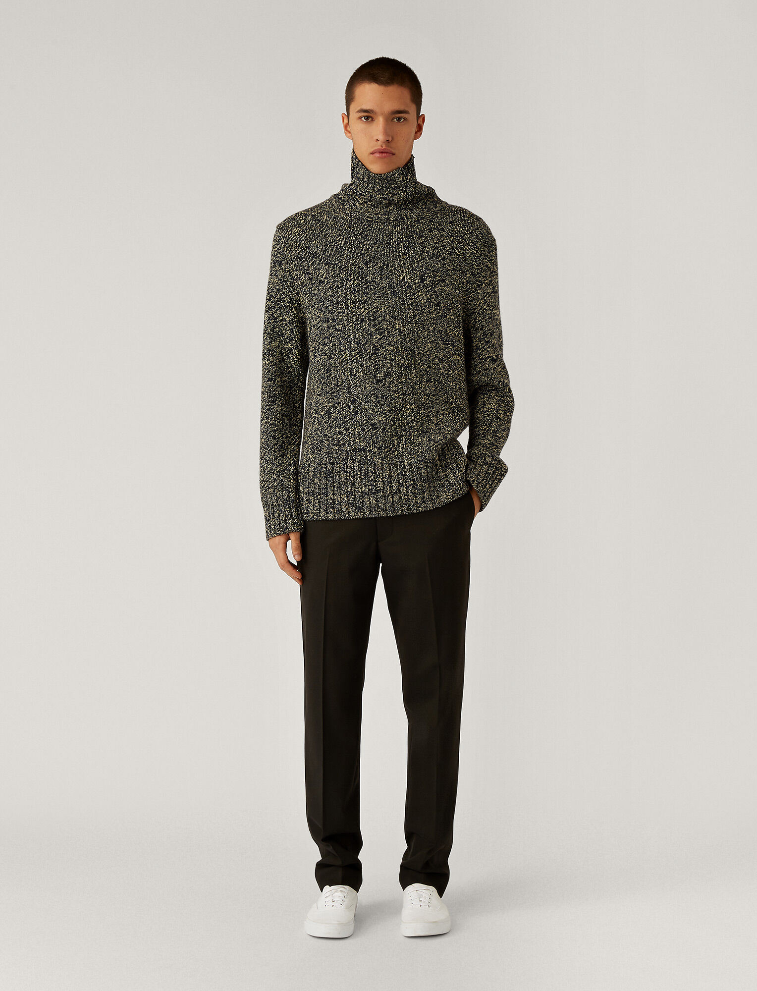 Joseph, High Neck Chunky Tweed Knit, in Blue