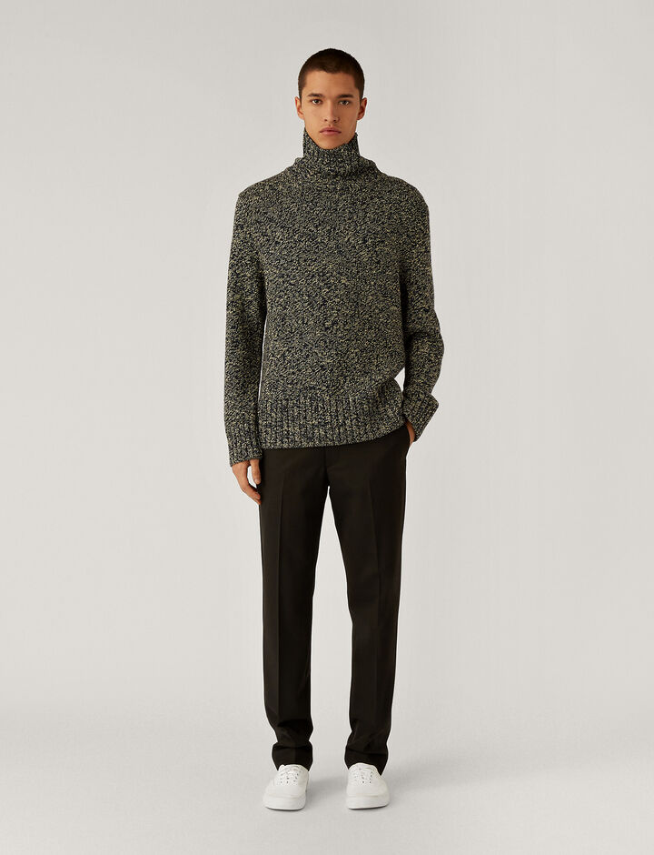 Joseph, High Neck Chunky Tweed Knit Knitwear, in Blue