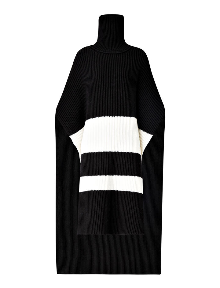 Joseph, Long Poncho Cote Anglaise Knit, in BLACK/CREAM