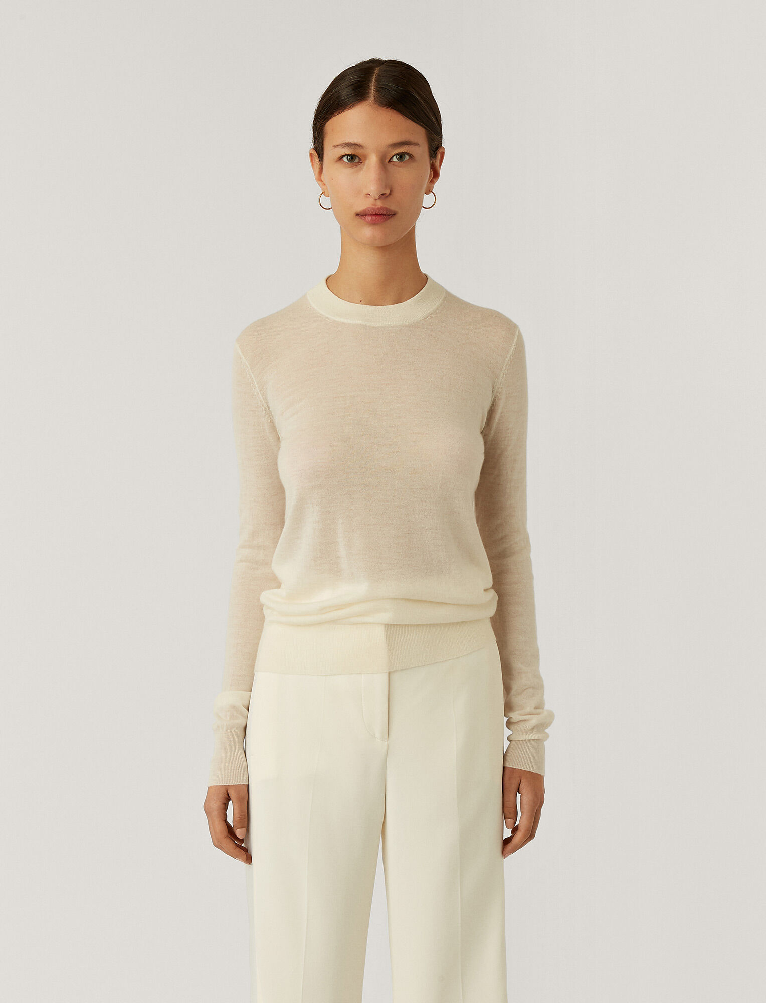 Joseph, Cashair Round Neck Jumper, in IVORY