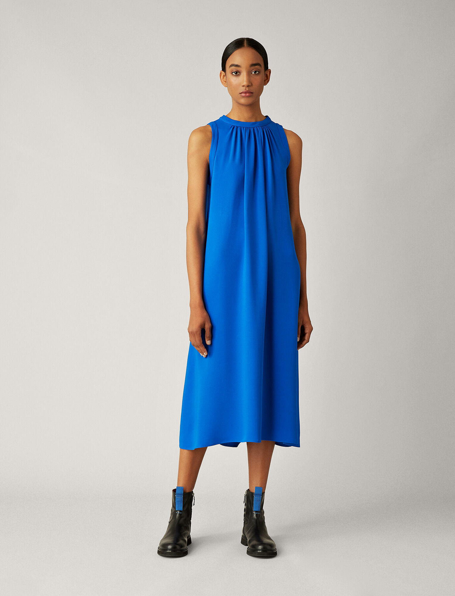 Joseph, Grace Silk Crepe Dress, in PLASTIC BLUE