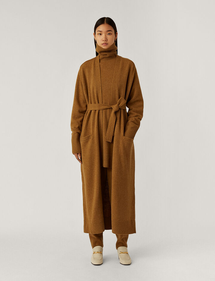 Joseph, Long Cardi Knitwear, in Cumin