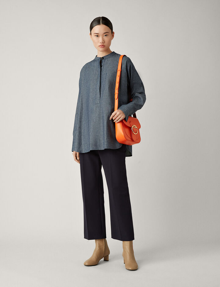 Joseph, Henry Chambray Shirting Blouse, in DARK