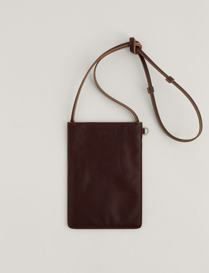 Joseph, Pochette S-Leather, in CHESTNUT