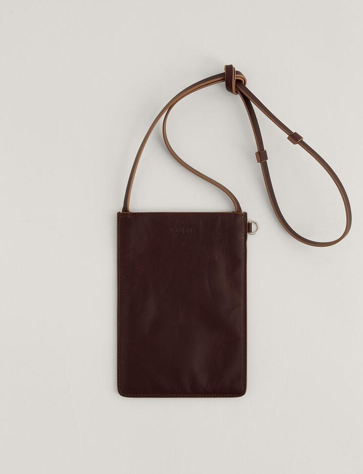 Joseph, Pochette S-Leather, in CHESTNUT