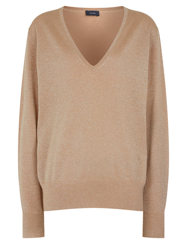 Joseph, V Neck Merinos Lurex Knit, in CAMEL