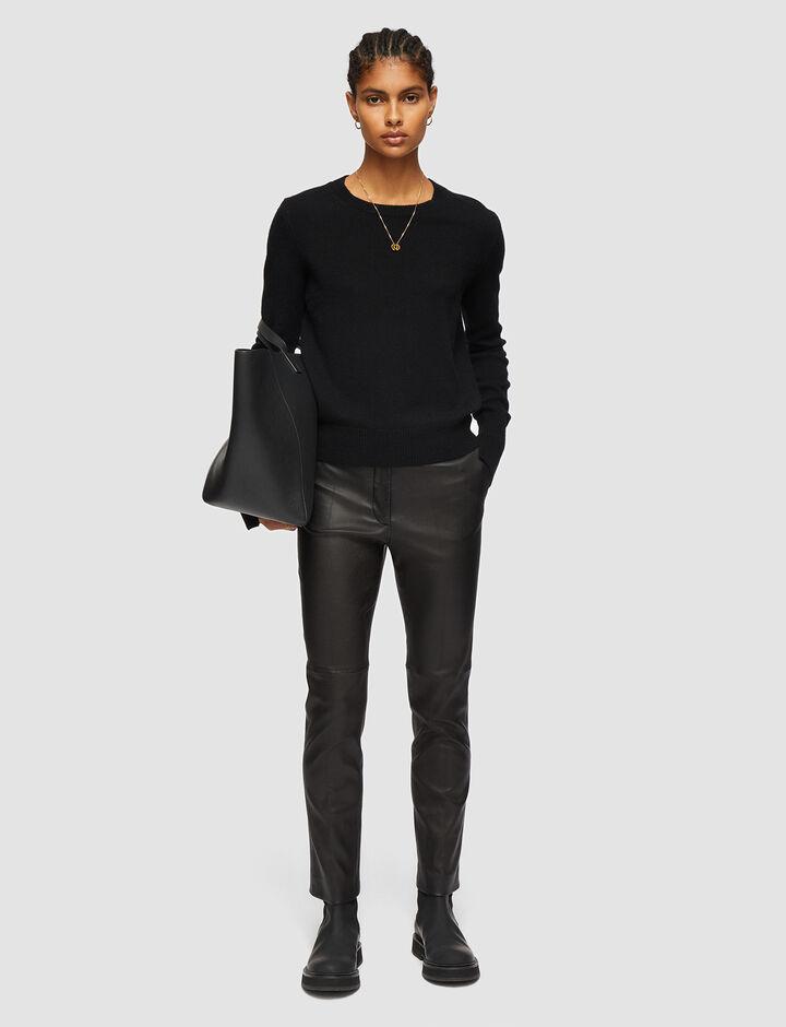 Joseph, Coleman-Leather Stretch, in BLACK