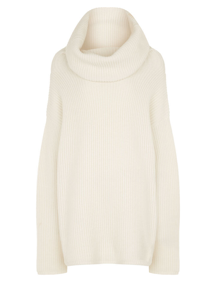 Joseph, High Neck Cashmere Purl Stitch Knit, in ECRU