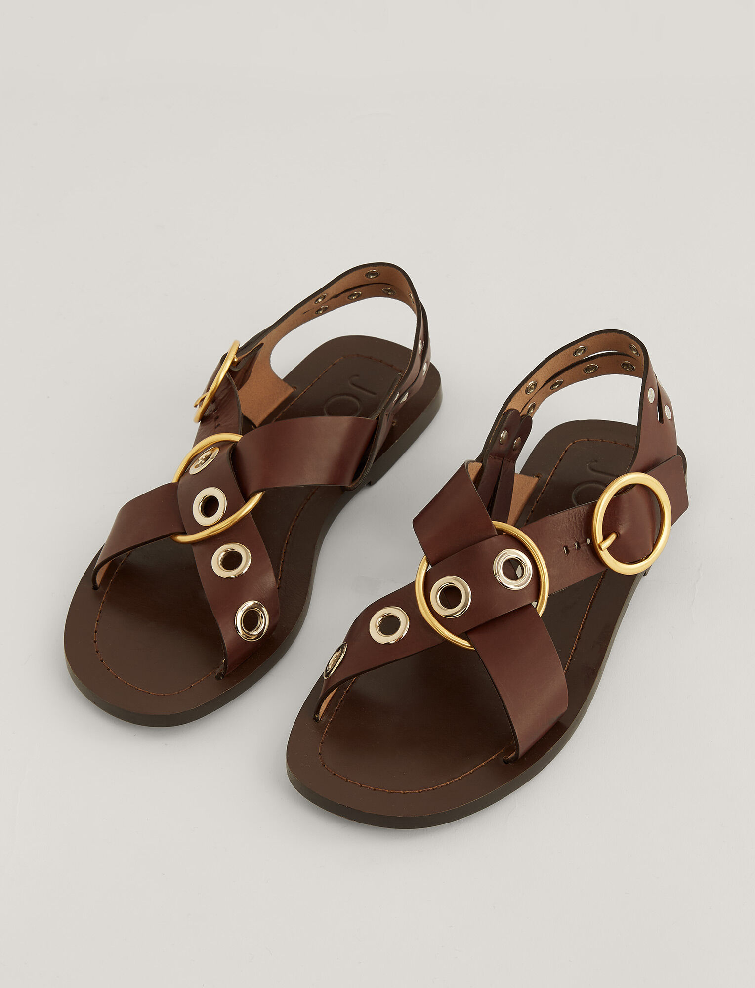 Joseph, Gaya Leather Sandal, in CHESTNUT