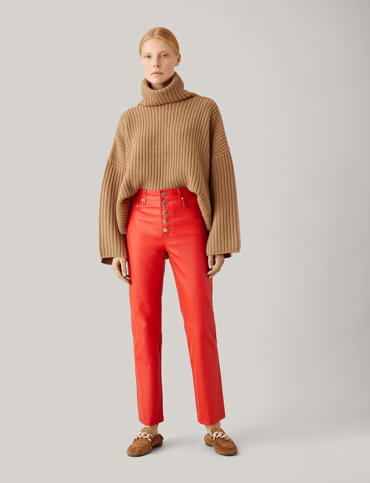 Joseph, Cropped Poncho Knit, in CAMEL