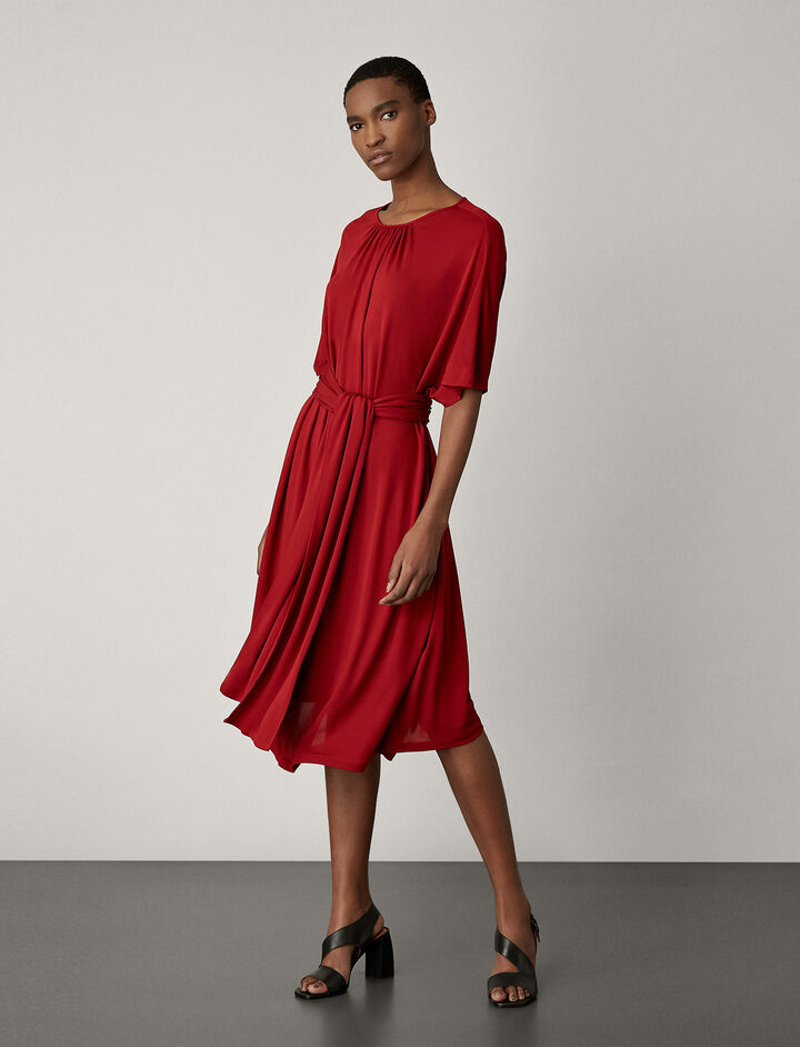Joseph, Ibiza Crepe Jersey Dress, in CRIMSON