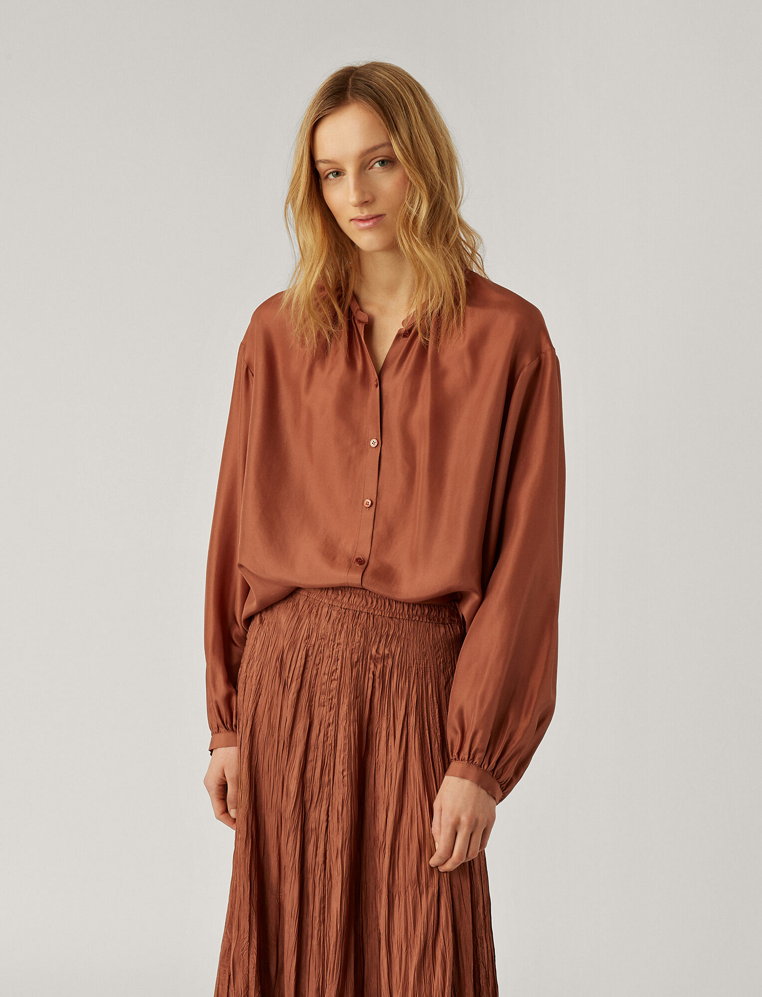 Joseph, Blouse Bowell en soie Habotai, in DUSTY ROSE