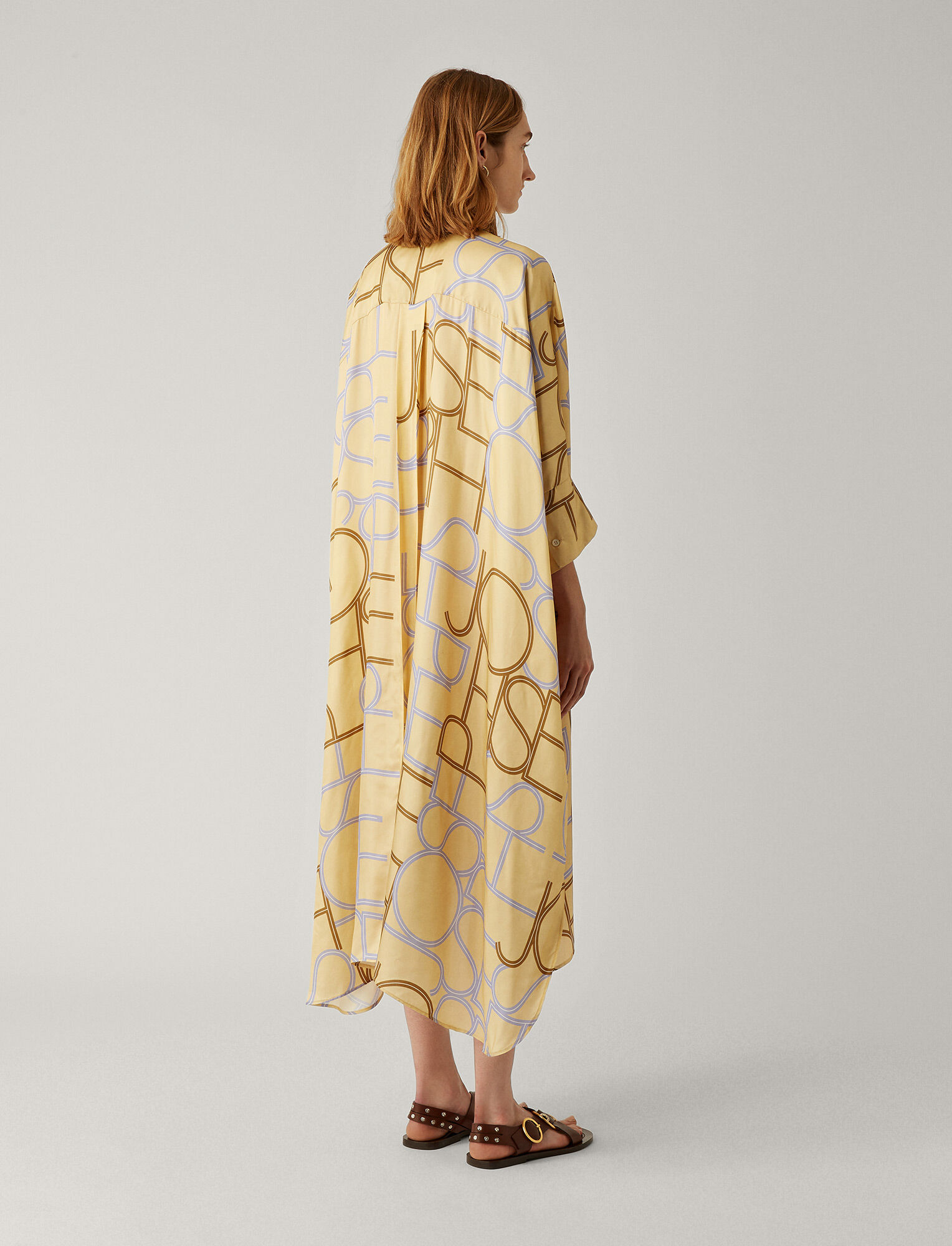 Joseph, Diana Viscose Big Logo Dress, in BANANA