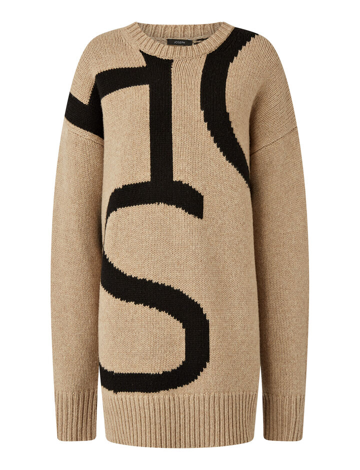 Joseph, Logo Sweater Intarsia Knit Knitwear, in Blush