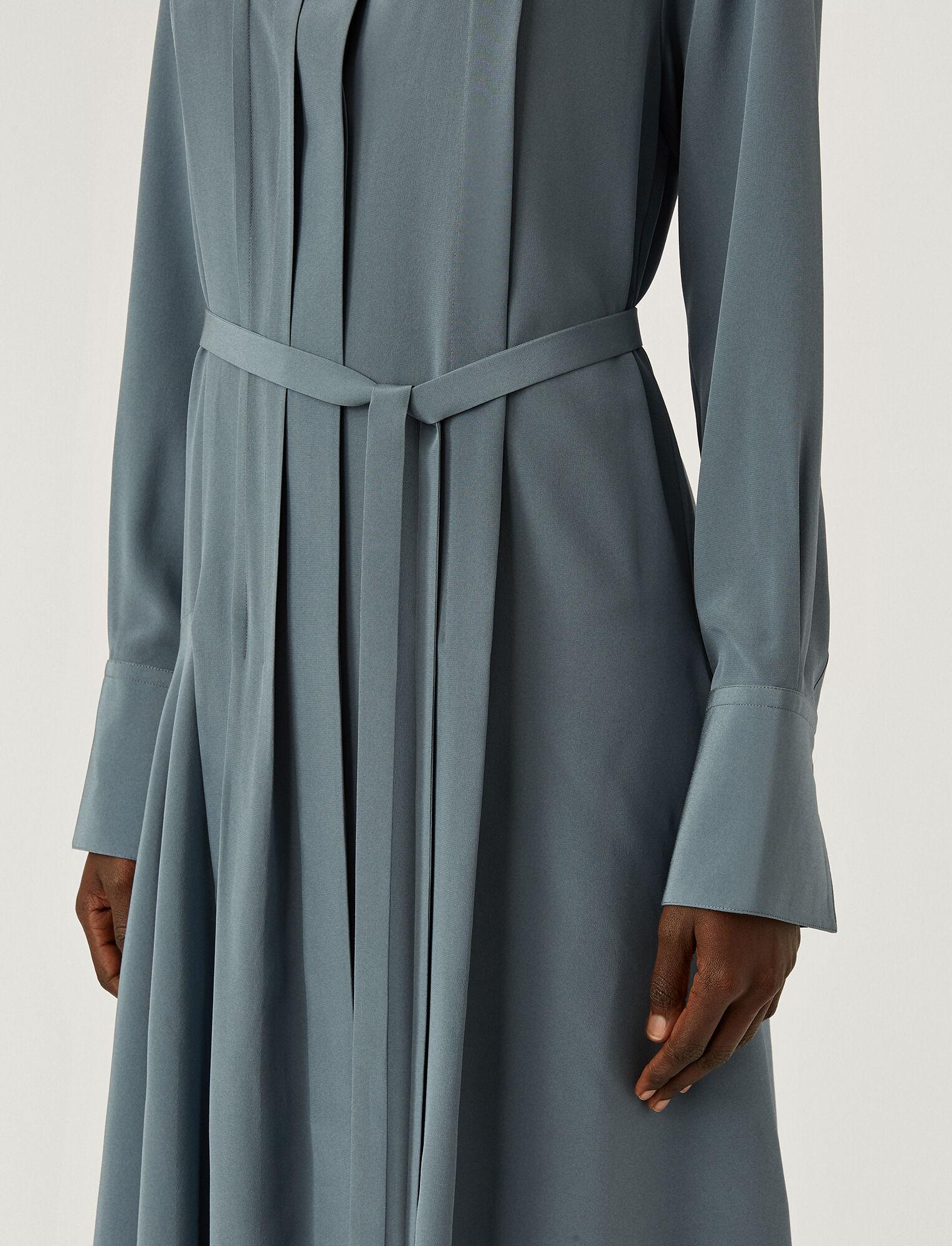 Joseph, New Crepe de Chine Despente Dress, in BLUE STEEL