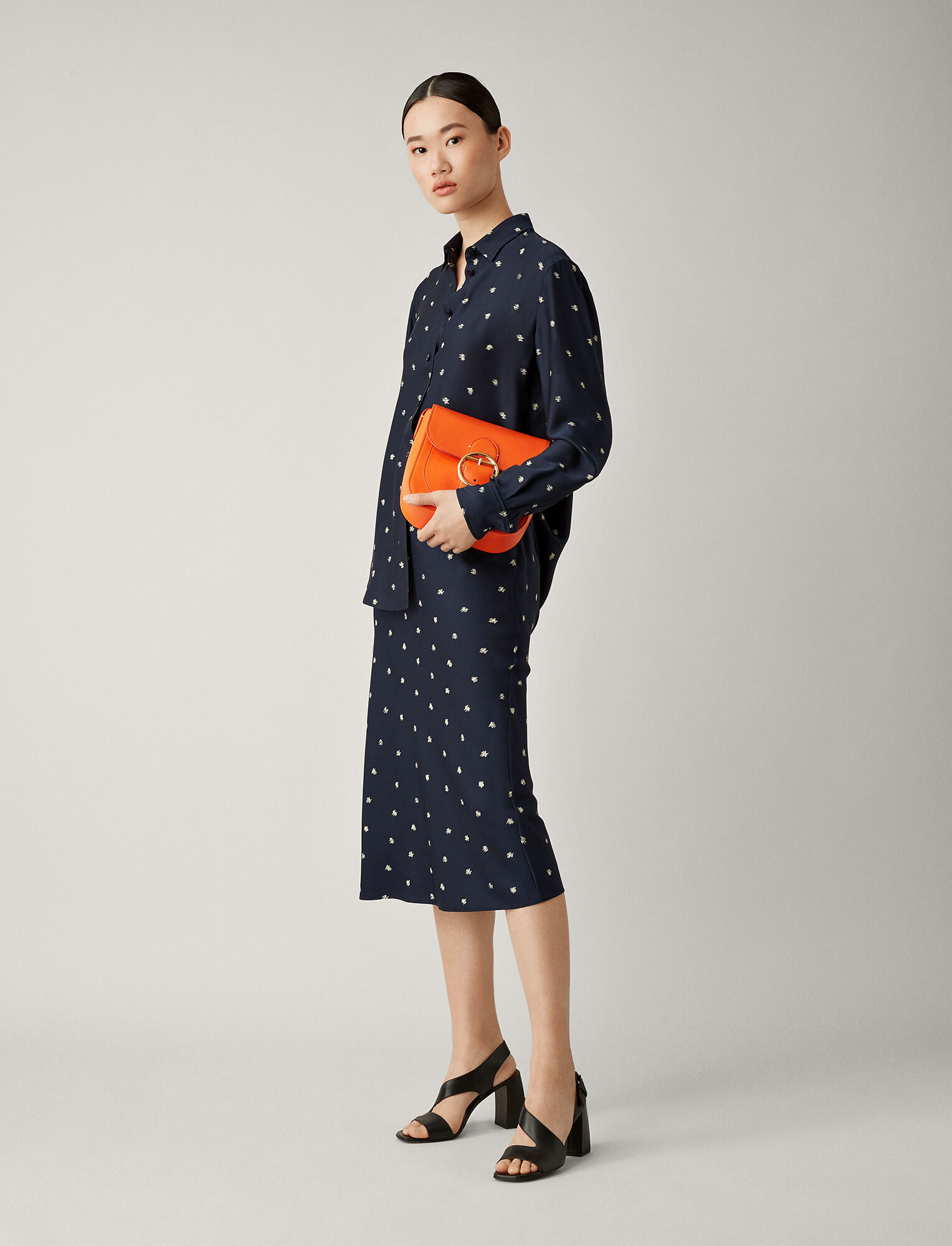 Joseph, Frances Scribble Spot Skirt, in NAVY