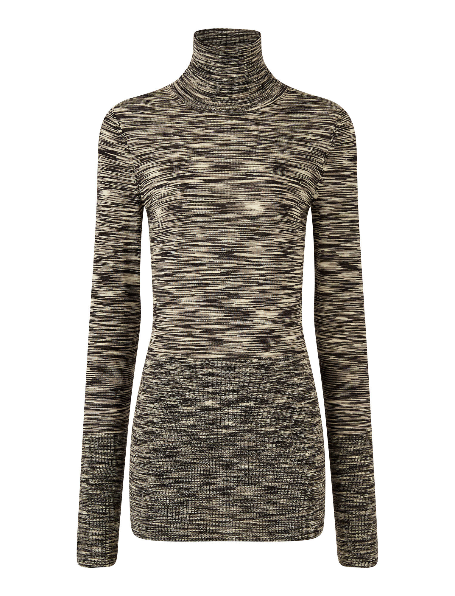 Joseph, Roll Neck Printed Wool Knit, in Black Combo