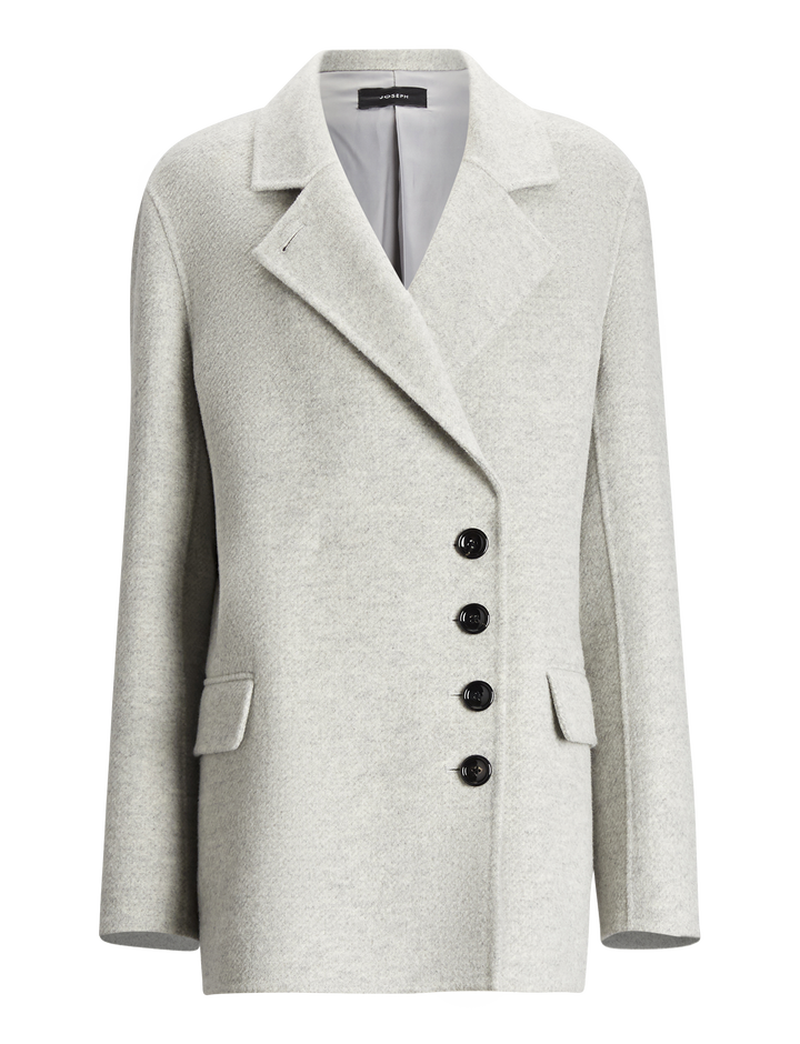Joseph, Lyne Diagonal Double Face Coat, in GREY CHINE