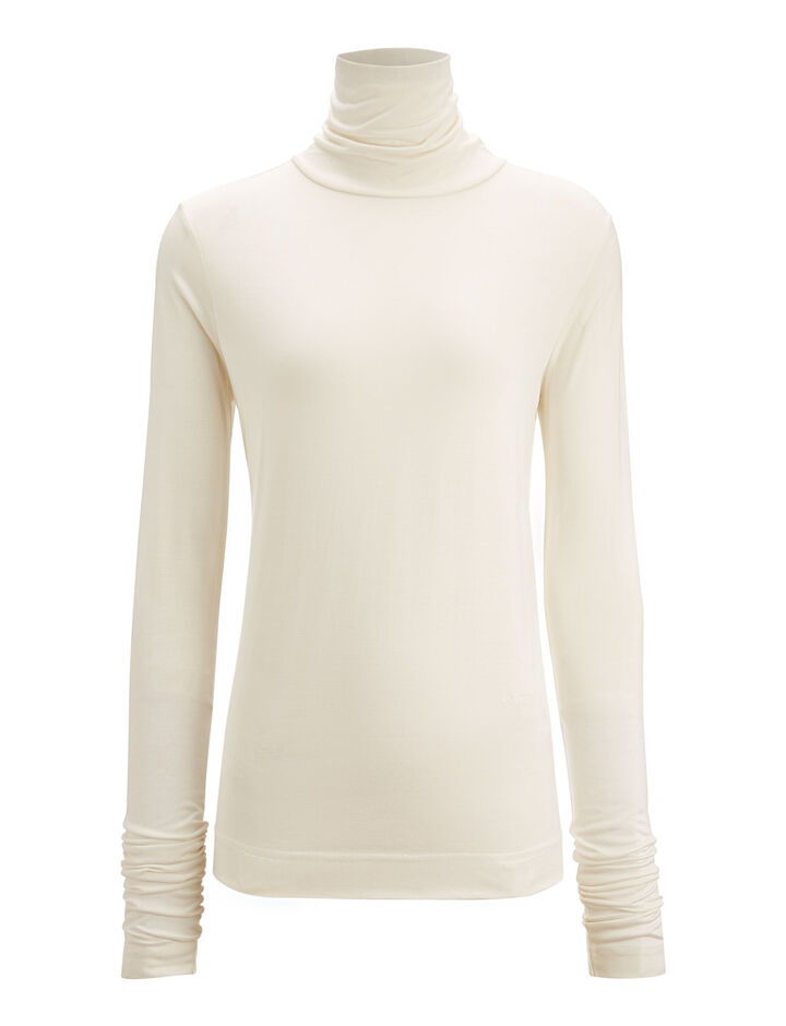 Joseph, Roll Neck Silk Jersey, in ECRU