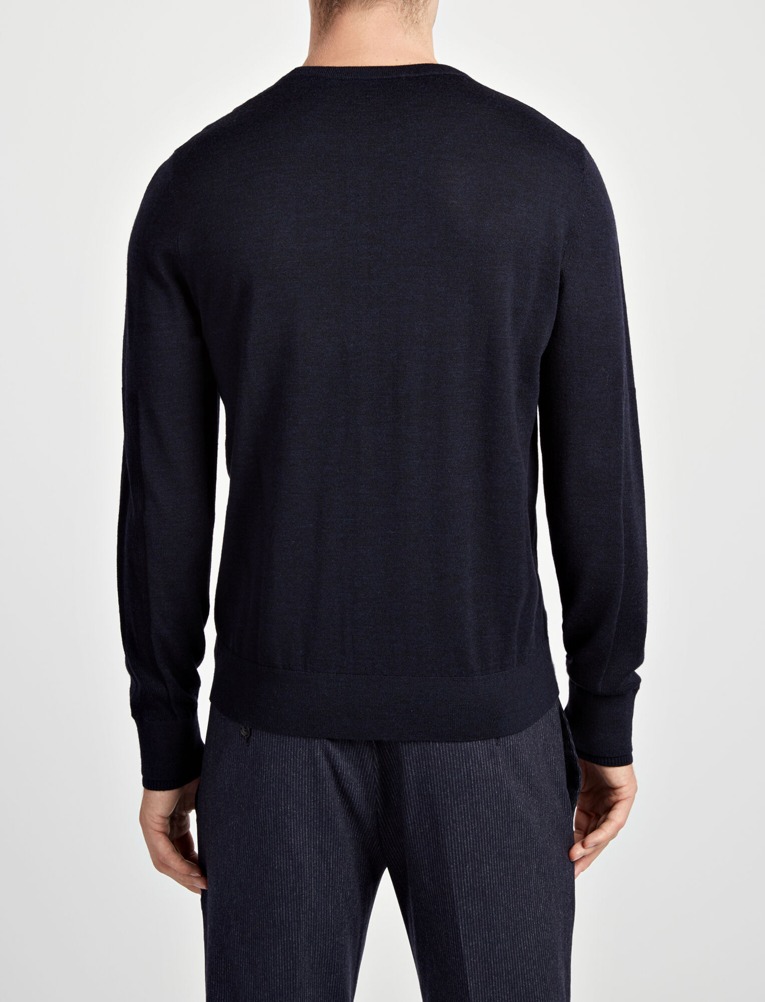 Joseph, Merinos + Rib Patch Sweater, in NAVY