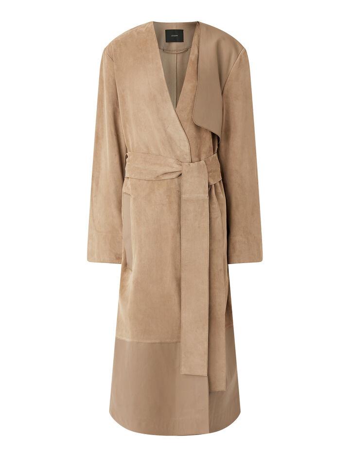 Joseph, Mixed Leather Cheyne Coat, in SIROCCO