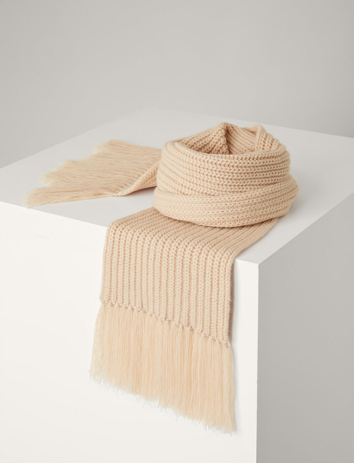 Joseph, Soft Wool Scarf, in LATTE