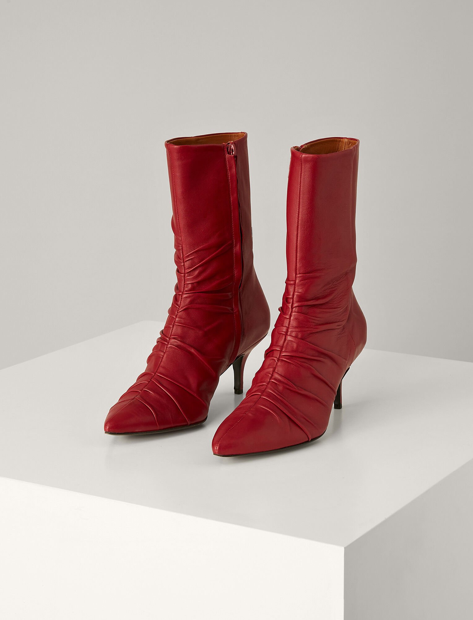 Joseph, Bianca Leather Ankle Boot, in GARNET