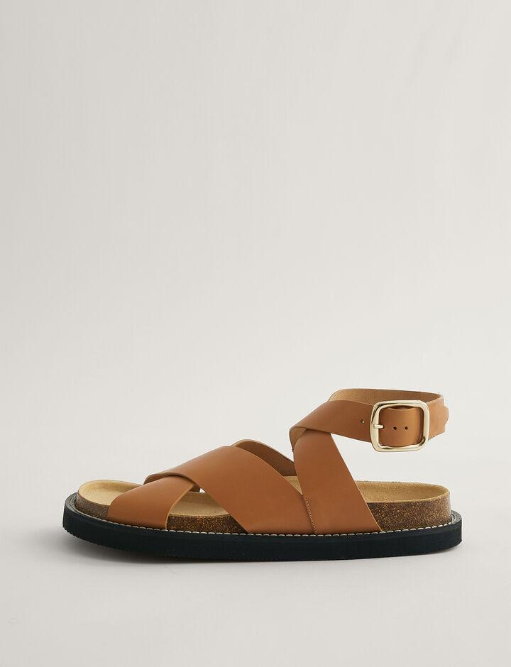 Joseph, Fussbett Cross Ankle Strap Sandal, in OAK