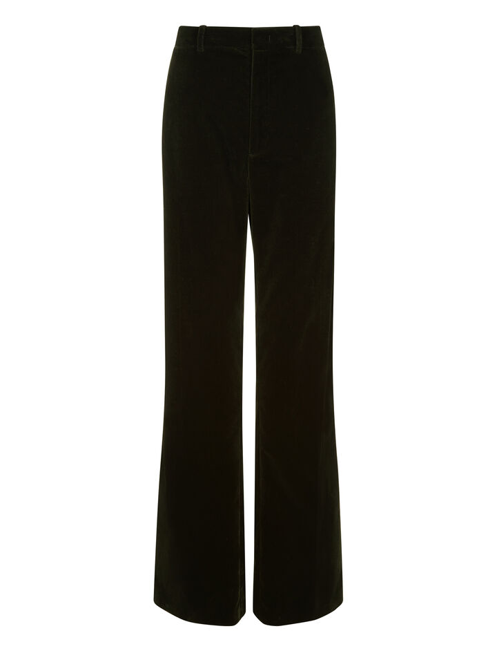 Joseph, Ferguson Velvet Stretch Trousers, in MILITARY