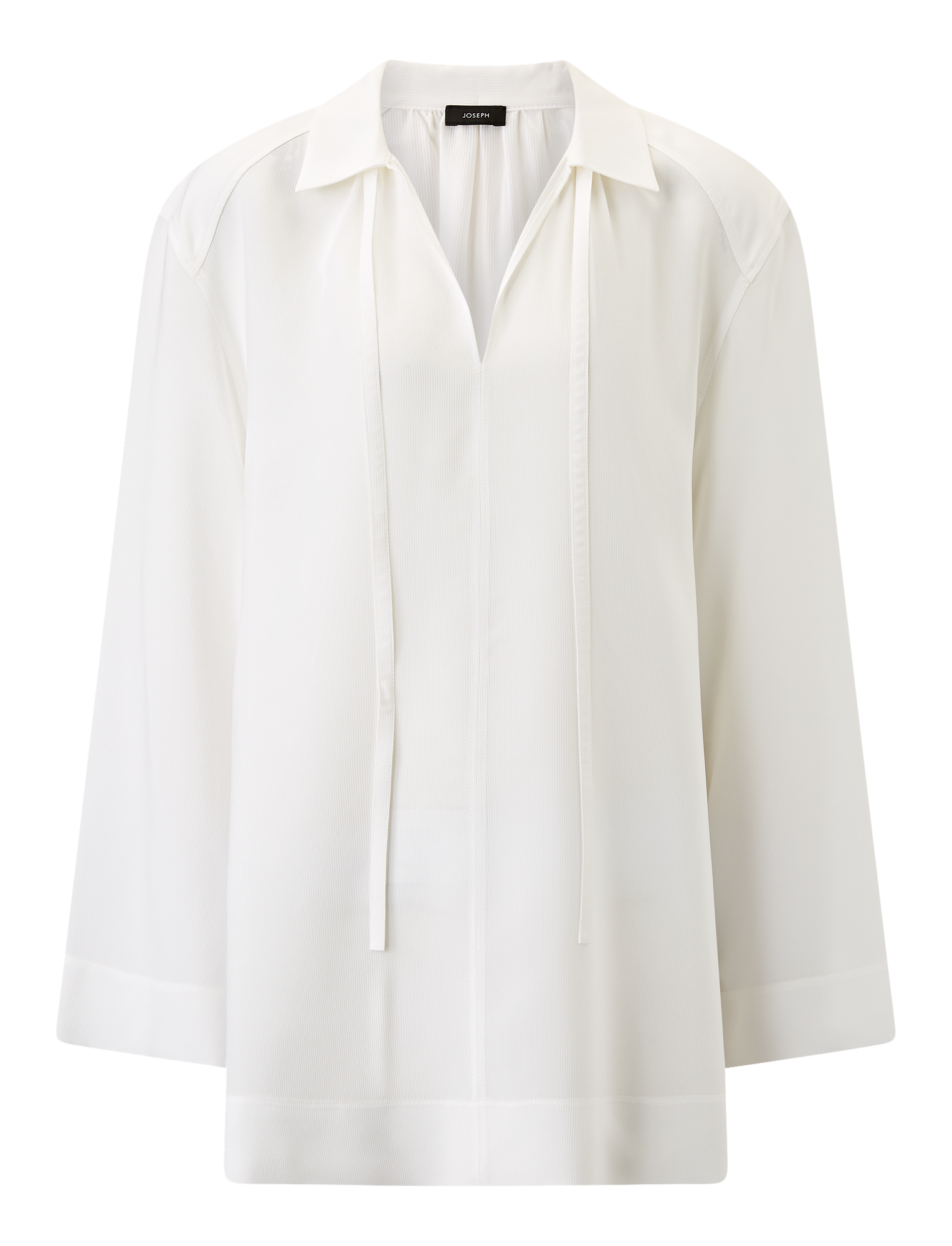 Joseph, Fran Silk Rib Shirting Blouse, in WHITE