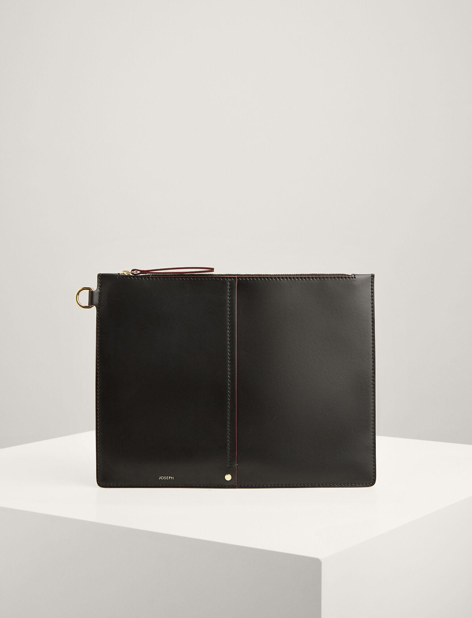 Joseph, Calf Leather XL Pouch, in BLACK