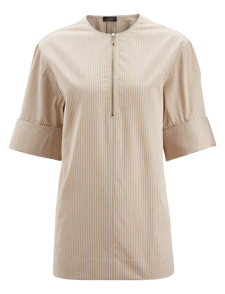 Joseph, Briar Pinstripe Mix Blouse, in FLAXEN