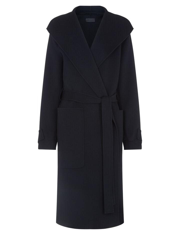 Joseph, Lista Double Wool Gloss Coat, in BLACK