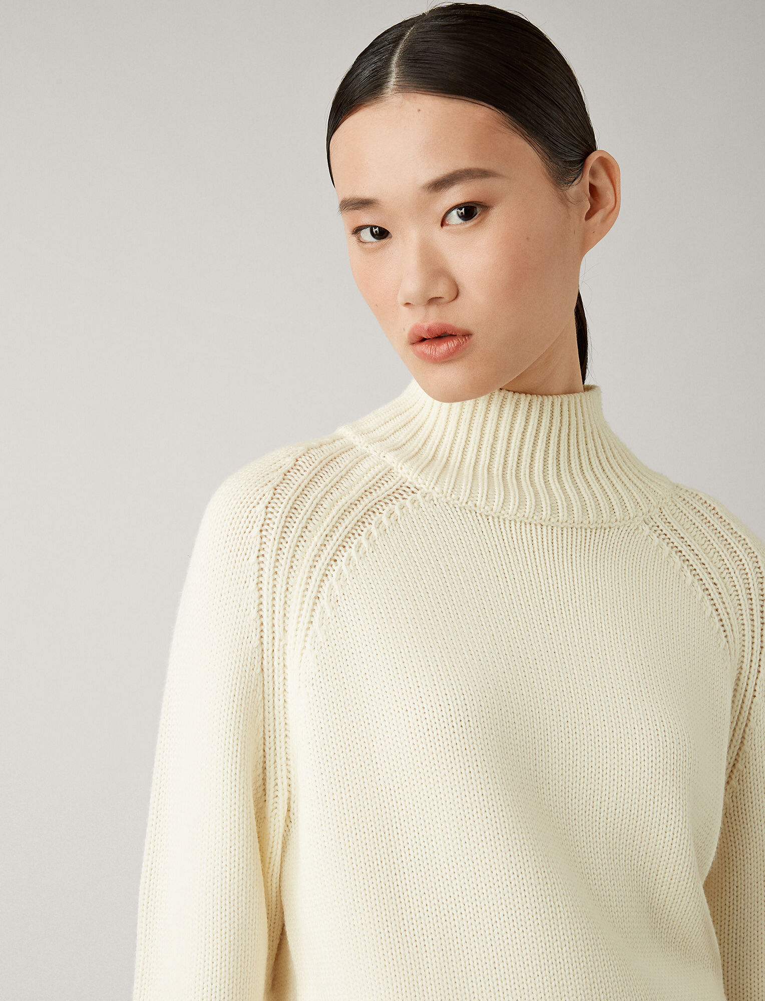 Joseph, New High Neck Sloppy Joe Knit, in CREAM