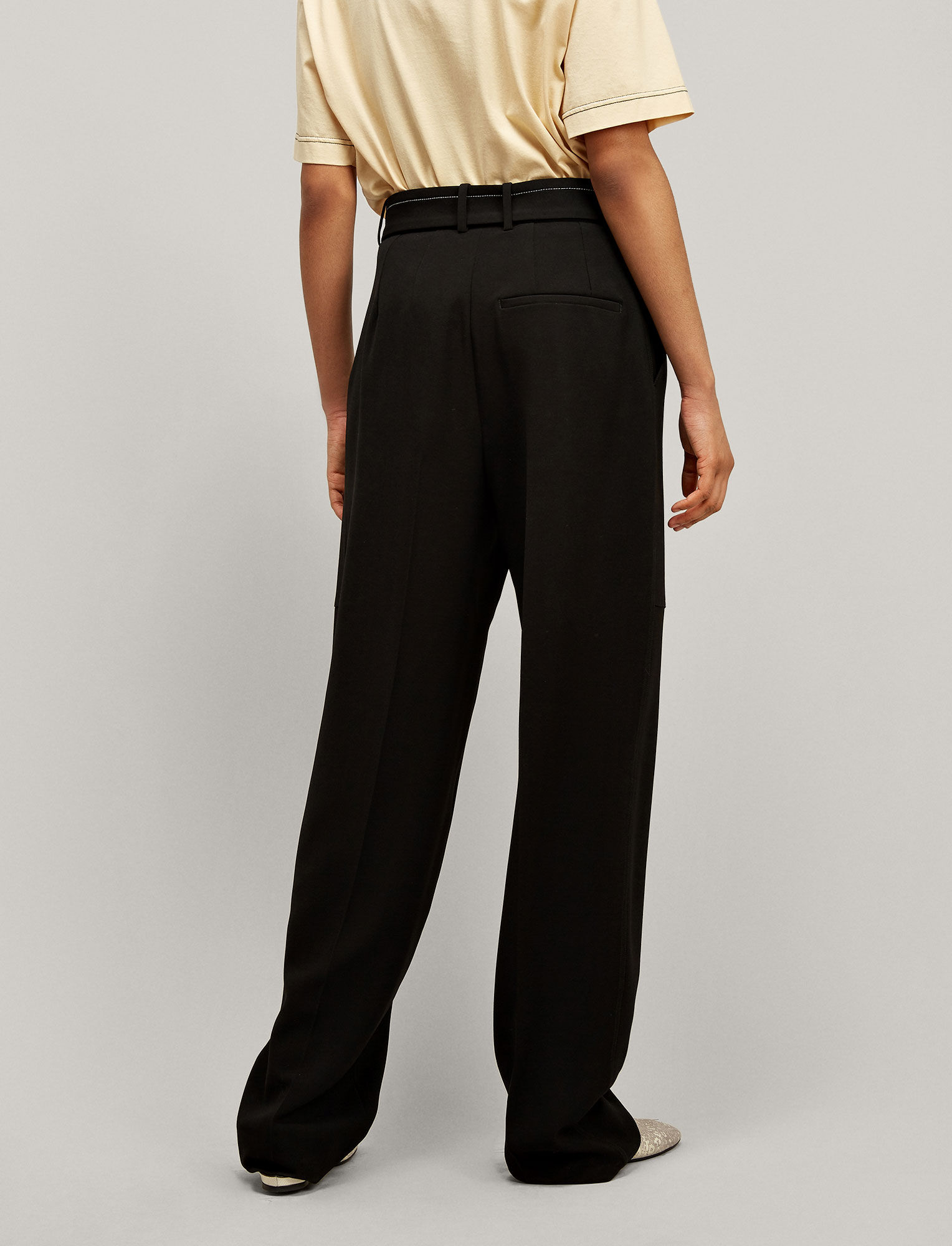 Joseph, Terry Fluid Twill Trousers, in BLACK