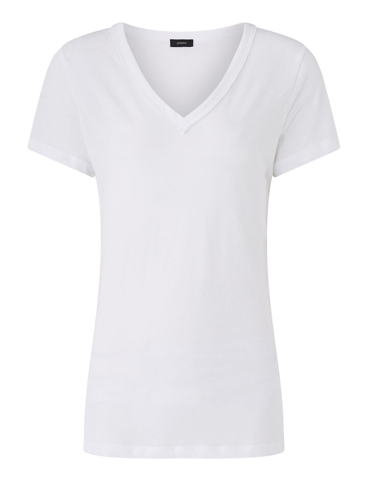 Joseph, V Nk Ss-Light Cotton Jersey, in WHITE