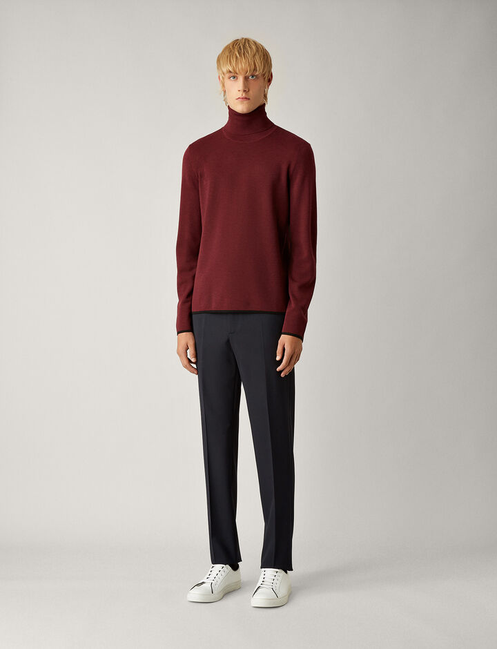 Joseph, Roll Neck Fine Milano Knit, in GARNET