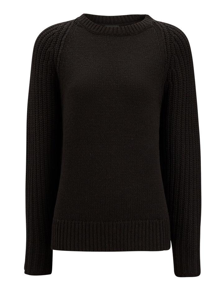 Joseph, Soft Wool Purl Stitch Knit, in BLACK
