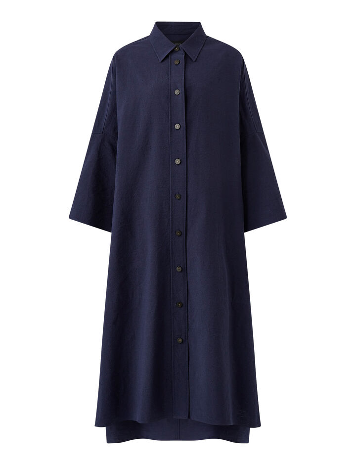 Joseph, Moroccan Stripe Linen Baker Dress, in COBALT BLUE